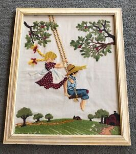 Vintage Hand Embroidered Picture Boy And Girl