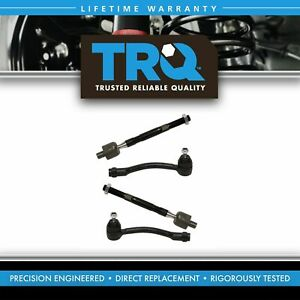 4 Piece Front Inner Outer Steering Tie Rod End Kit For Kia Rio Hyundai Accent