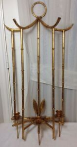 Vtg Antique Large Italian Tole Metal Gilt Gold 3arms Wall Sconce Candle Holder
