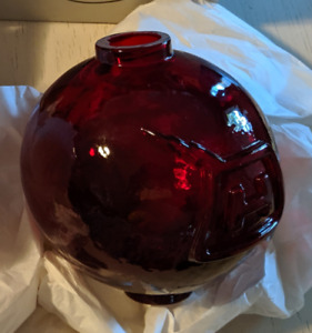New Old Stock With Box Fenton Ruby Red Glass Lightning Rod Ball Globe Antique