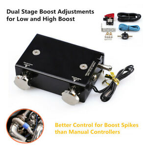 Black Dual Stage Electronic Turbo Boost Controller Psi Turbocharger W switch Kit