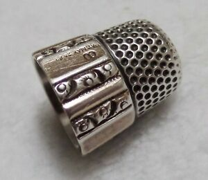 Antique Simons Bros Sterling Silver Thimble Panel Scroll