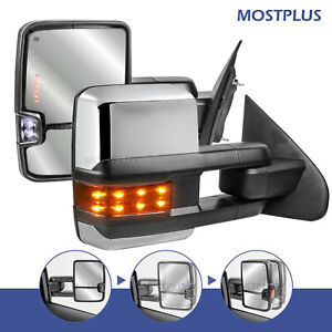 Power Fold heated Led Signal Towing Mirrors For 14 18 Chevy Silverado Gmc Sierra