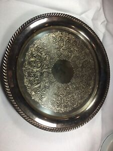 Vintage Wm A Rogers 1881 Silver Plated On Brass Ornate Serving Plate Tray
