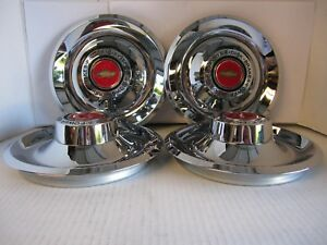 4 Chevy Gm Disk Brakes Rally Wheel Center Hub Caps W Red Chevy Decal
