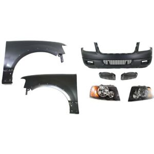 Bumper Cover Kit For 2004 2006 Ford Expedition Front 7pc