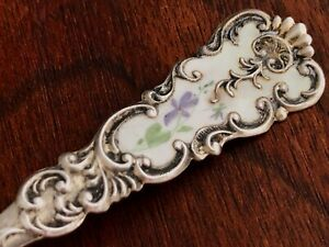 Fessenden Sterling Silver Gilt Hand Painted Enamel Sugar Spoon No Monogram