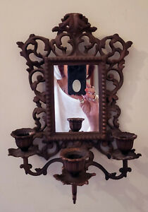Antique Victorian Cast Brass Candle Holder Candelabra Wall Sconce With Mirror