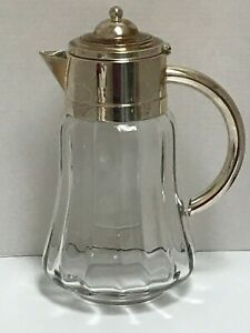 Glass Water Pitcher Wine Claret With Silver Plated Lid Handle W Ice Insert