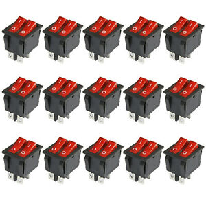 6pcs Double Red Light Illuminated 4 Pin Spst On off Snap Boat Rocker Switch