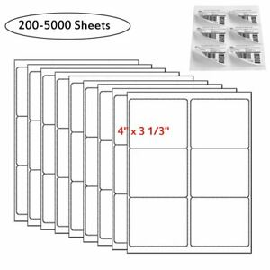 200 5000 Sheets 3 1 3 X 4 Shipping Labels 6 Up Laser Ink Jet Self Adhesive Usa
