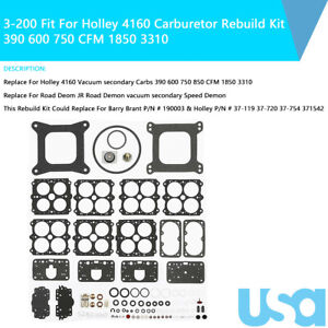 3 200 Fit For Holley 4160 Carburetor Rebuild Kit 390 600 750 Cfm 1850 3310