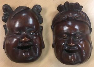 Buddha Pair Exquisite Rare Chinese 18 1900s Wood Carving Hotei Wooden Mask 9 X6