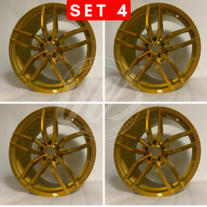 19 Inch Staggered Dark Gold V Style Rims Wheels Fits 5x114 3 Bolt Pattern 35mm