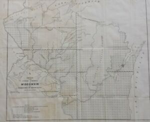 1849 A Sketch Of Public Surveys In Wisconsin And Territory Of Minnesota Map