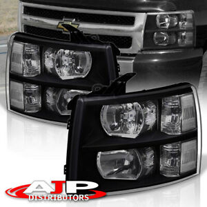 Black Clear Replacement Headlights Lamps For 07 13 Chevy Silverado 1500 2500hd