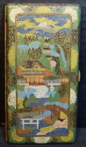 Japanese Cloisonne Long Cigarette Case With Landscapes And Dragons