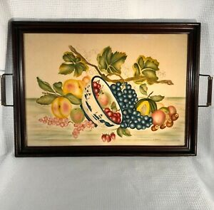 Xl Antique Vtg Wood 2 Handle Serving Tray W Fruit Bowl Theorem Folk Art Painting