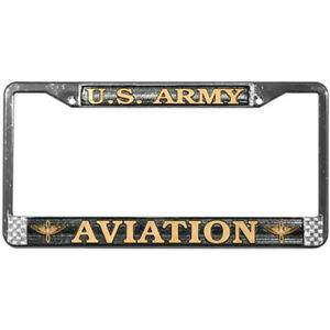 Us Army Aviation Raised Letters Chrome License Plate Frame