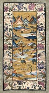 Antique Chinese Silk Kesi Tapestry Silk Embroidered With Figures Qing Dynasty
