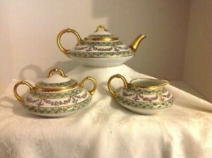 Antique Pickard Tea Set Signed By Rare Artist Nesha Tolpin Ca 1910