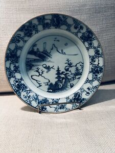 Antique Chinesr Blue And White Plate Kangxi C 1717 20
