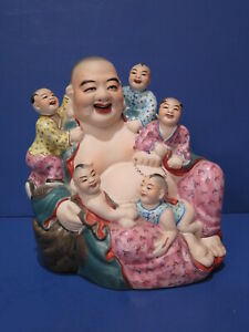 Antique Vintage Happy Buddha Children Bisque Glaze Porcelain Figurine Chinese