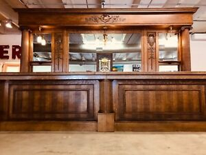 Antique Back Bar Quarter Sawn Oak Front Bar Lincoln Ne C1890 16ft