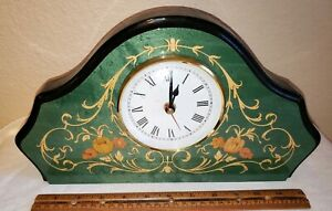Vintage Italian Wooden Inlay Marquetry Geen Gold Black Desk Mantle Clock Italy