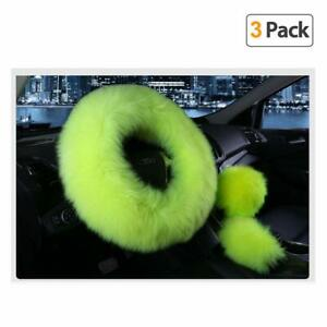 Younglingn Car Steering Wheel Cover Gear Shift Handbrake Fuzzy Cover 1 Set 3 Pcs