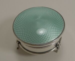 Pretty English Sterling Silver And Guilloche Enamel Jewelry Ring Box