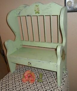 Pretty Old Stool Bench Shabby Chippy Pale Green Pink Cabbage Roses Plant Std