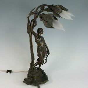 Art Nouveau Bronzed Spelter Three Light Sculptural Table Lamp Woman Holding Lyre