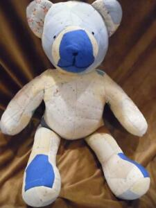 Large Quilted Patch Primitive Stuffed Bear Tattered Doll Old Country Unique
