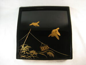 Antique Japanese 140 Year Old Lacquer Wood Obon Ozen Tray Table Sparrows Flying