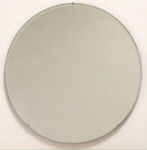 Vintage Antique 20 Round Frameless Beveled Wall Mirror With Solid Wood Backing
