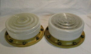 Mid Century Modern Ceiling Fixtures Drum Lights With Gold Ball Rims Nautical