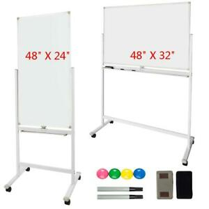 48 X 24 32 Dry Erase Board Magnetic Double Sided Whiteboard Wheels 2 Size