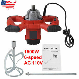 Handheld Electric Mortar Mixer 1500w 6 Speed Paint Cement Grout Ac 110v