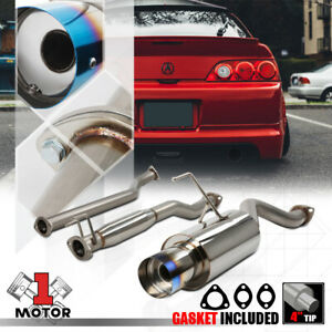 Stainless Steel Catback Exhaust System 4 Burnt Tip Muffler For 02 06 Rsx Base