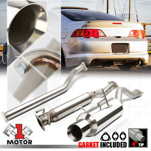 Ss Catback Exhaust System 4 Beveled Tip Muffler For 02 06 Acura Rsx Dc5 Type s