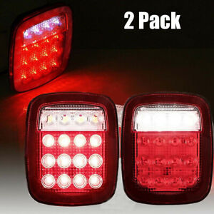 One Pair Led Lighting Tail Lights Rear Lamps Suit For Jeep Wrangler Cj 76 06