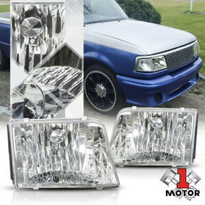 Chrome Housing Crystal Clear Lens Headlight For 93 97 Ford Ranger Pickup Truck