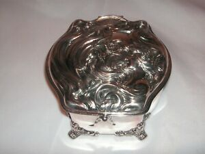 Rare Large 1890 S Art Nouveau Lady Silverplate Jewelry Box Casket Derby