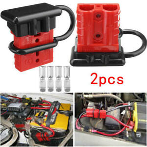 2x Battery Quick Connect Kit 50a Wire Harness Plug Disconnect Winch Trailer Lrc