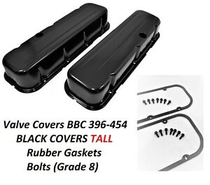 Bbc Valve Covers Steel Black Gaskets Rubber grade 8 Bolts 65 95 396 454 Engines