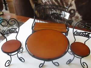 Coca-Cola Miniature Park Bench Table Chairs set Metal and Wood 1999