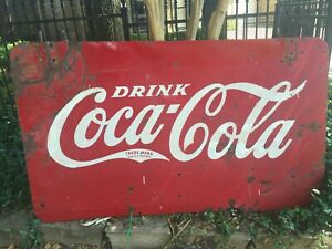 VINTAGE COCA COLA SIGN. LARGE 2 SIDED OUTDOOR