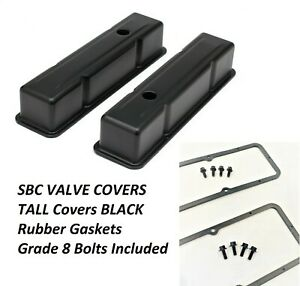 Sbc Tall Black Valve Covers Black Rubber Gaskets Grade 8 Bolts 58 85 327 350