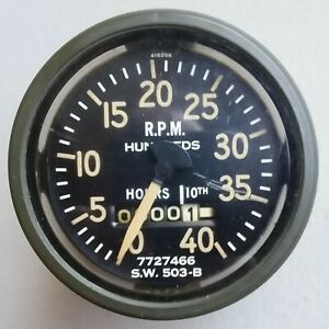 Stewart Warner 3 1 2 Green Rim 4000 Rpm Tachometer Hourmeter 418356 Usa